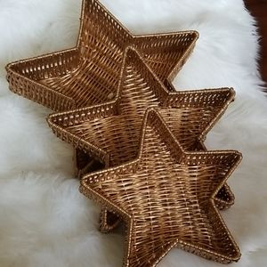 Vintage Nesting Stars Wicker Baskets